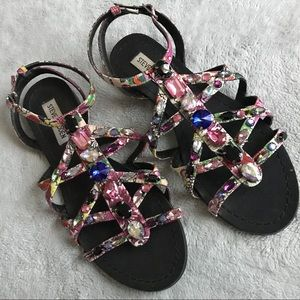 Steve Madden Bdazzled Jeweled Floral Sandals